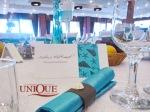 Servet de masa decor nunta turqoaise cu maro si elemente deco scoici nunta 2012